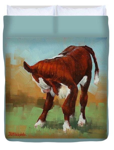 Turning Calf Duvet Cover by Margaret Stockdale