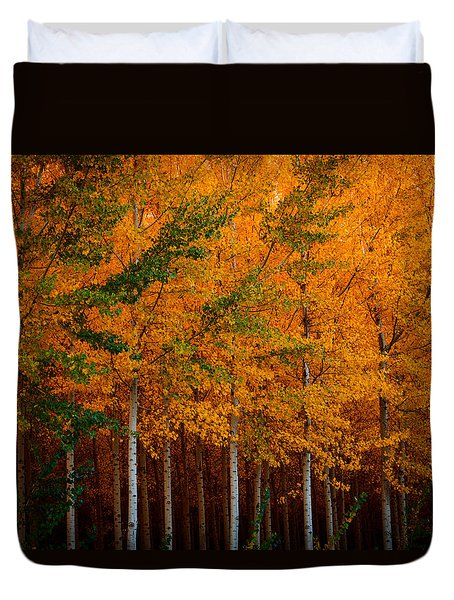 Duvet Cover featuring the photograph Turning Into Gold by Dan Mihai
