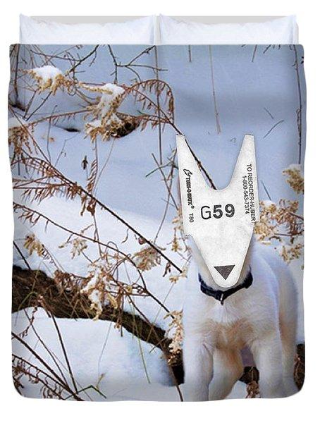 turnOmatic White Swiss Shepherd Pup Duvet Cover