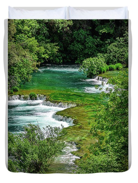 Turqouise Waterfalls Of Skradinski Buk At Krka National Park In Croatia Duvet Cover