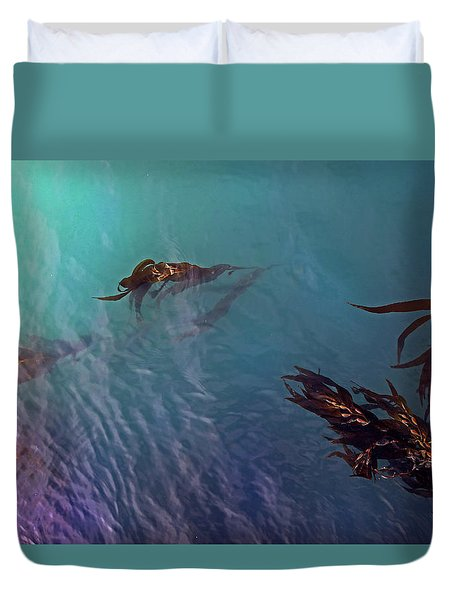 Turquoise Current And Seaweed Duvet Cover by Nareeta Martin