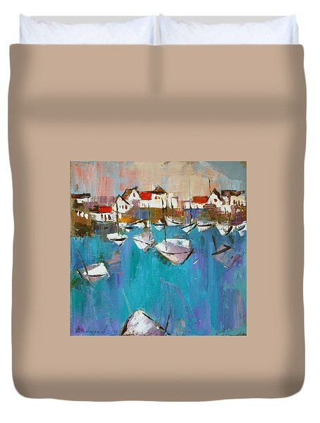Duvet Cover featuring the painting Turquoise by Anastasija Kraineva