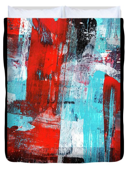 Duvet Cover featuring the painting Turquoise And Red Abstract Painting by Christina Rollo