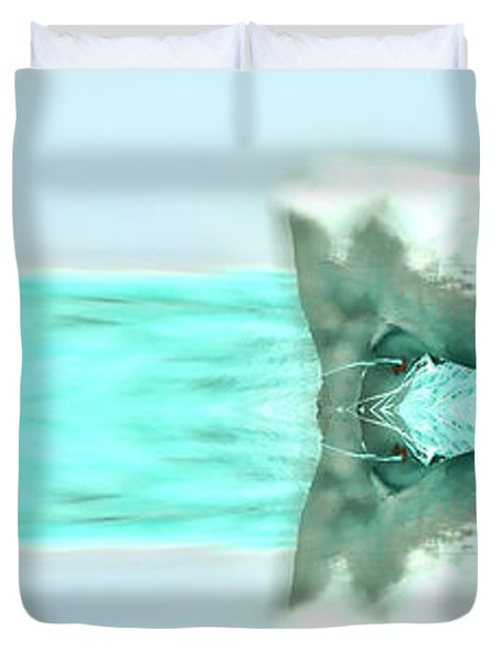 Turquoise And Steer Duvet Cover