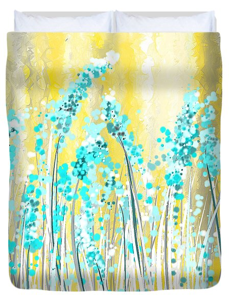 Turquoise And Yellow Duvet Cover by Lourry Legarde