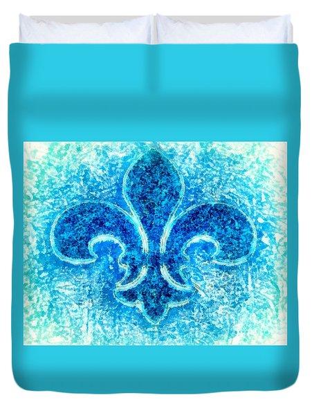 Turquoise Bleu Fleur De Lys Duvet Cover by Janine Riley