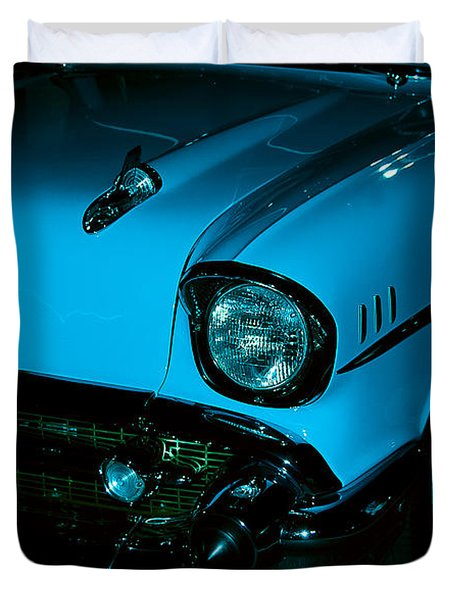 Turquoise Chevy Duvet Cover by DigiArt Diaries by Vicky B Fuller