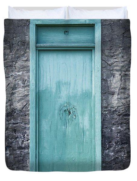 Turquoise Door Duvet Cover