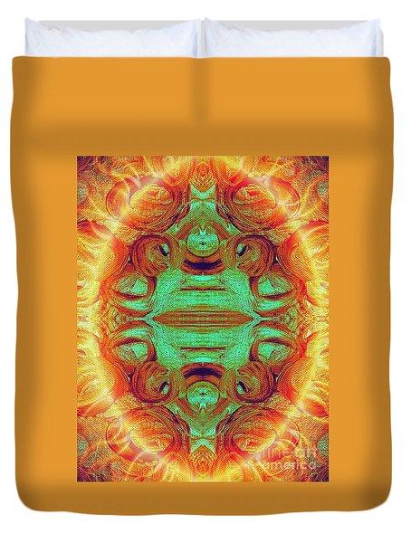 Turquoise Fire Duvet Cover