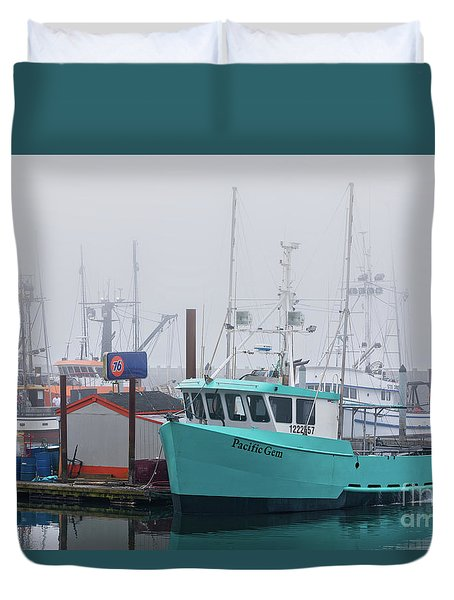 Turquoise Fishing Boat Duvet Cover by Jerry Fornarotto
