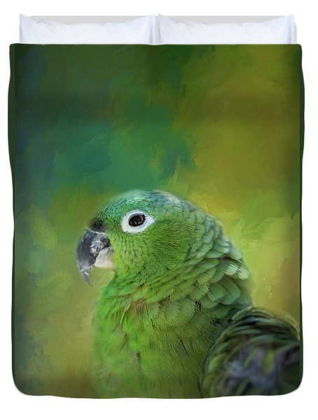 Turquoise-fronted Amazon Duvet Cover