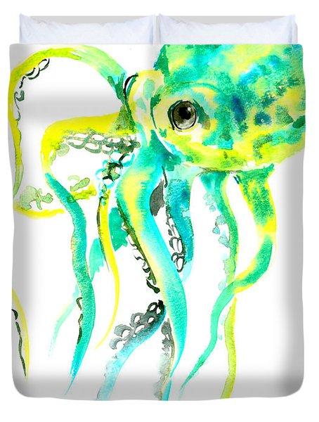 Turquoise Green Octopus Duvet Cover by Suren Nersisyan