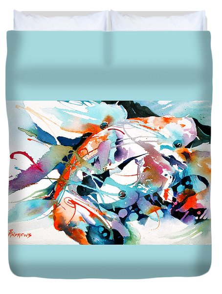 Duvet Cover featuring the painting Turquoise Koi Patterns by Rae Andrews