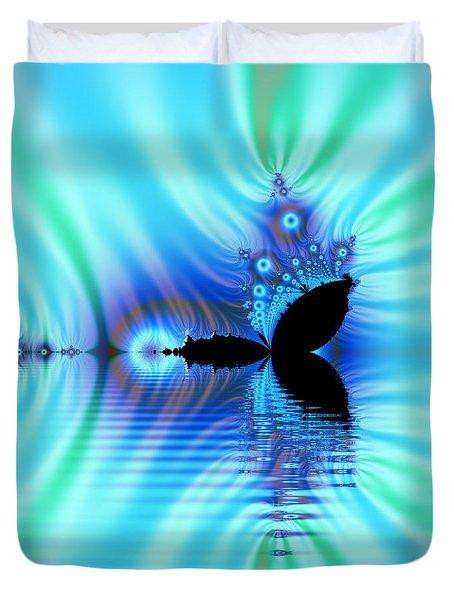 Turquoise Lake Fractal Duvet Cover