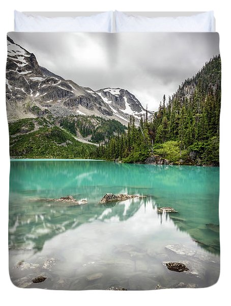 Turquoise Lake In The Mountains Duvet Cover