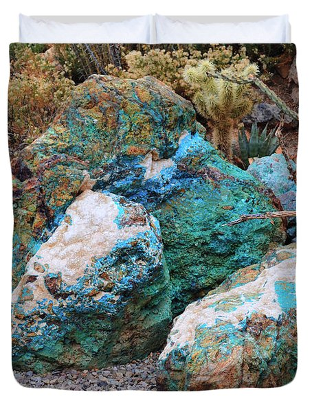 Turquoise Rocks Duvet Cover by Donna Greene