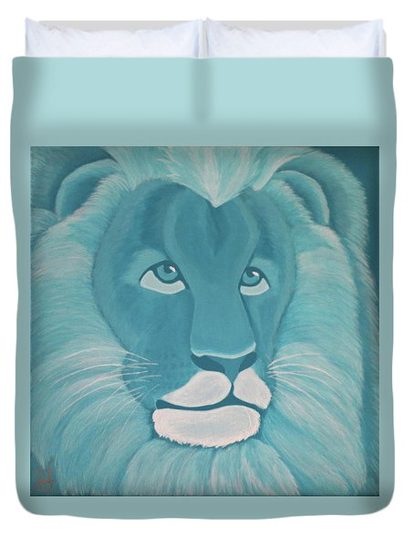 Turquoise Lion Duvet Cover