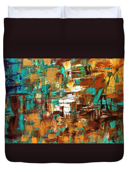 Duvet Cover featuring the painting Turquoise Scent by Carmen Guedez