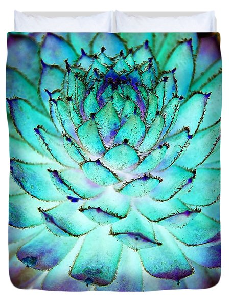 Duvet Cover featuring the photograph Turquoise Succulent 1 by Marianne Dow