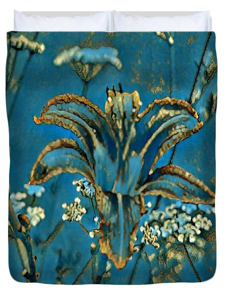Turquoise Tigerlily  Duvet Cover