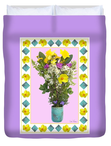 Turquoise Vase With Spring Bouquet Duvet Cover by Lise Winne