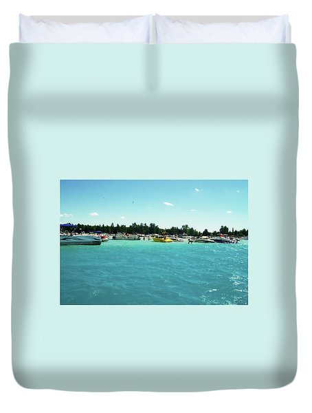 Turquoise Waters At The Torch Lake Sandbar Duvet Cover