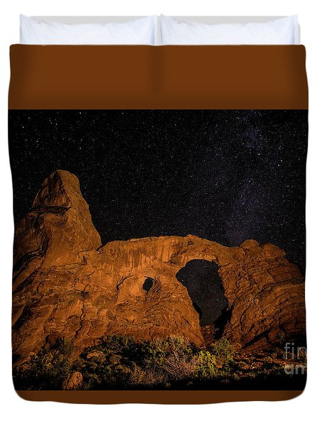 Duvet Cover featuring the photograph Turret Arch And The Milky Way - Utah by Gary Whitton