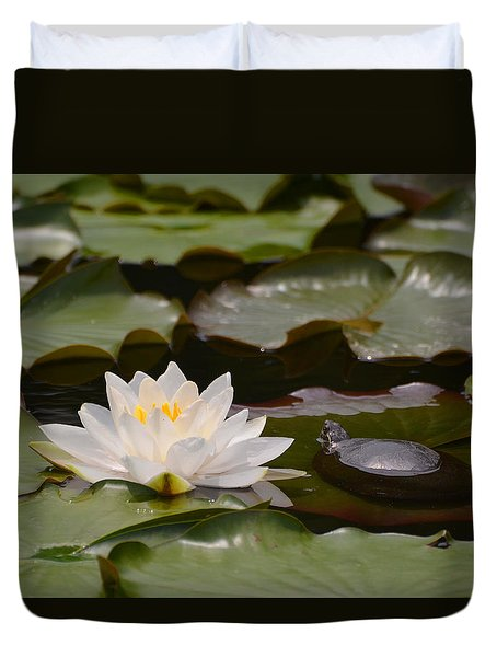 Duvet Cover featuring the photograph Turtle And Water Lily by Kathleen Stephens