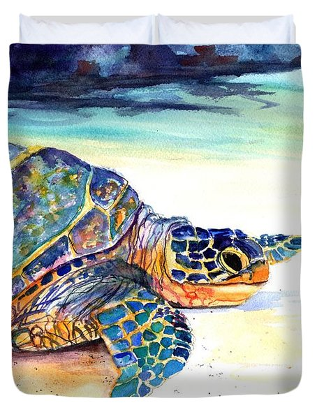 Duvet Cover featuring the painting Turtle At Poipu Beach 2 by Marionette Taboniar