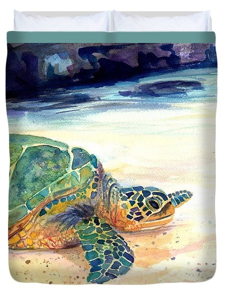 Turtle At Poipu Beach 5 Duvet Cover