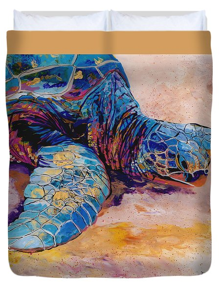 Duvet Cover featuring the painting Turtle At Poipu Beach 6 by Marionette Taboniar
