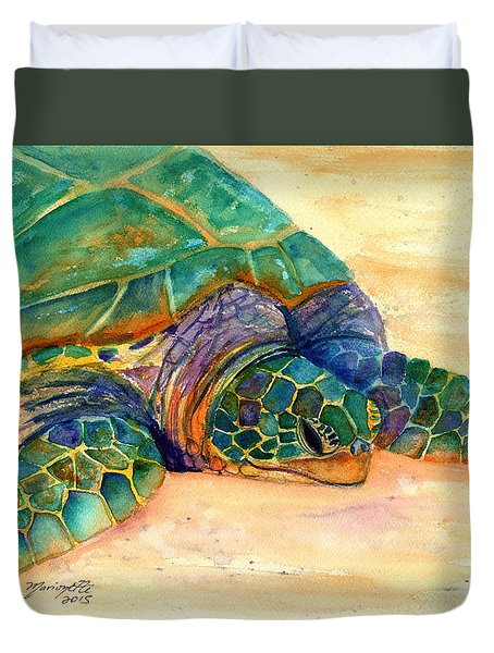 Duvet Cover featuring the painting Turtle At Poipu Beach 7 by Marionette Taboniar