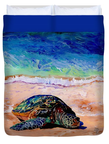Turtle At Poipu Beach 9 Duvet Cover