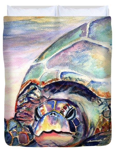 Turtle At Poipu Beach Duvet Cover