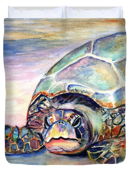 Turtle At Poipu Beach Duvet Cover