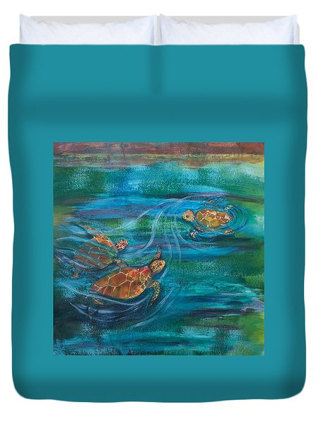 Turtle Ballet Duvet Cover by Bonnie Rabert