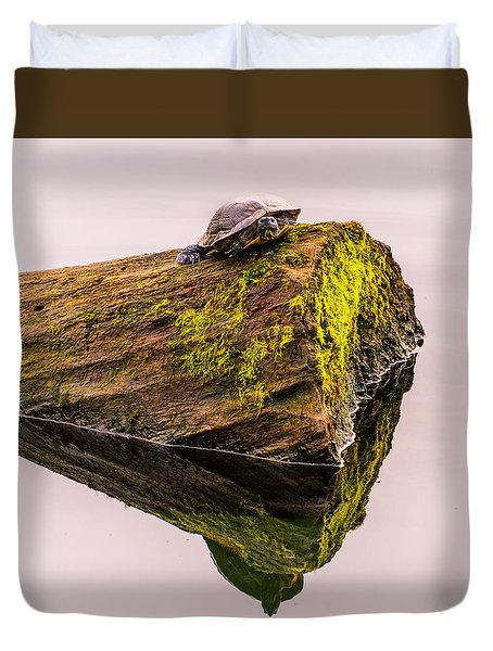 Duvet Cover featuring the photograph Turtle Basking by Jerry Cahill