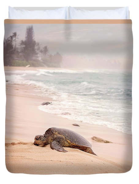 Duvet Cover featuring the photograph Turtle Beach by Heather Applegate