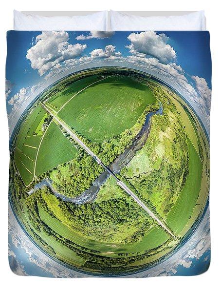 Duvet Cover featuring the photograph Turtle Creek Railroad Bridge Little Planet by Randy Scherkenbach