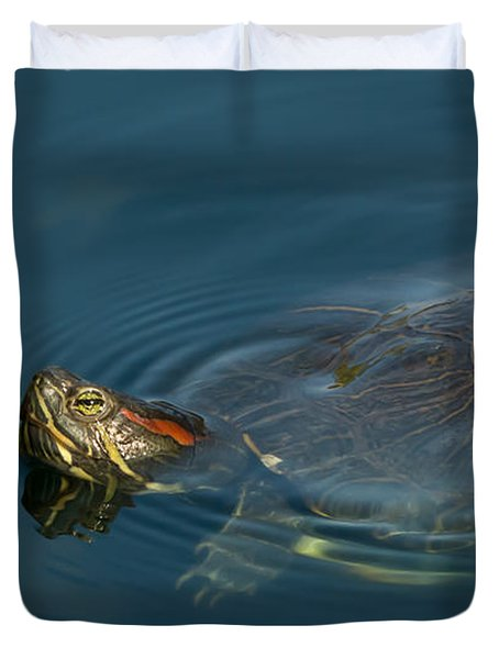 Turtle Floating In Calm Waters Duvet Cover