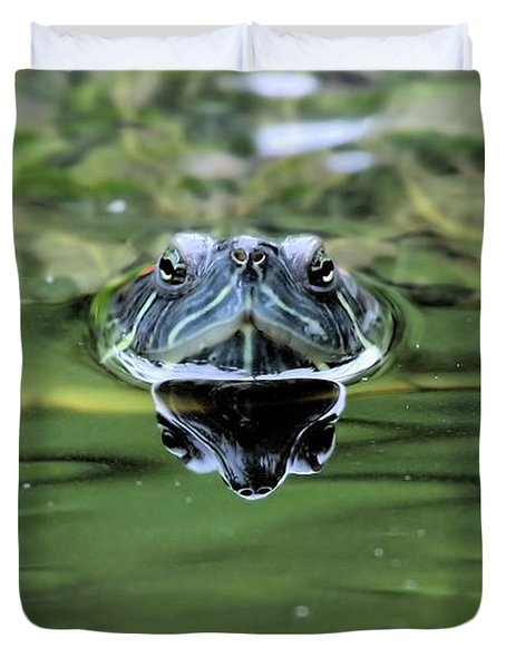 Turtle Head Duvet Cover by Karol Livote
