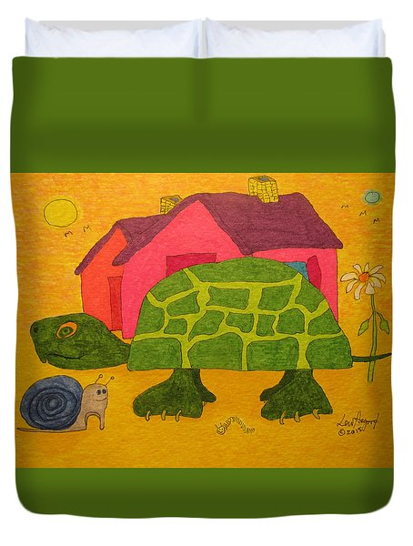 Turtle In Neighborhood Duvet Cover