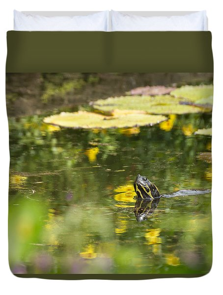 Duvet Cover featuring the photograph Turtle  by Julie Andel
