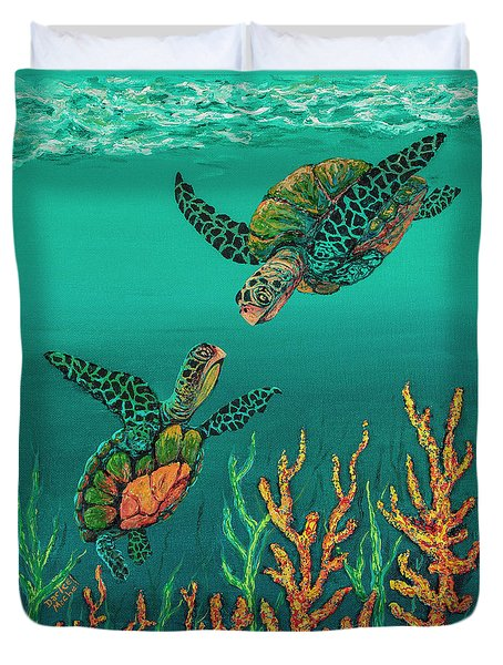 Turtle Love Duvet Cover by Darice Machel McGuire