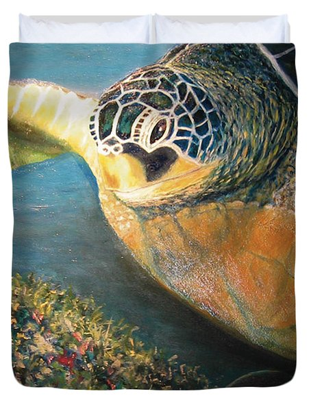 Duvet Cover featuring the painting Turtle Run by Karen Zuk Rosenblatt