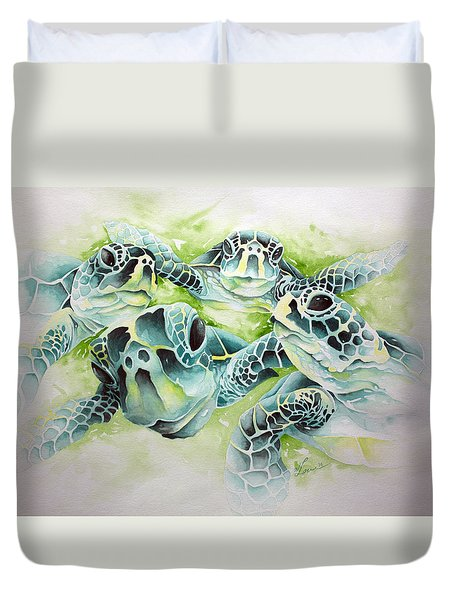 Duvet Cover featuring the painting Turtle Soup by William Love