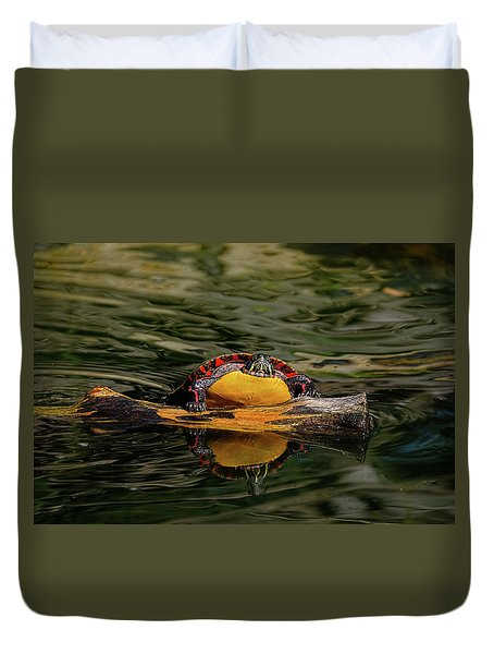 Turtle Taking A Swim Duvet Cover