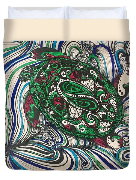 Turtle Time All Alone Duvet Cover