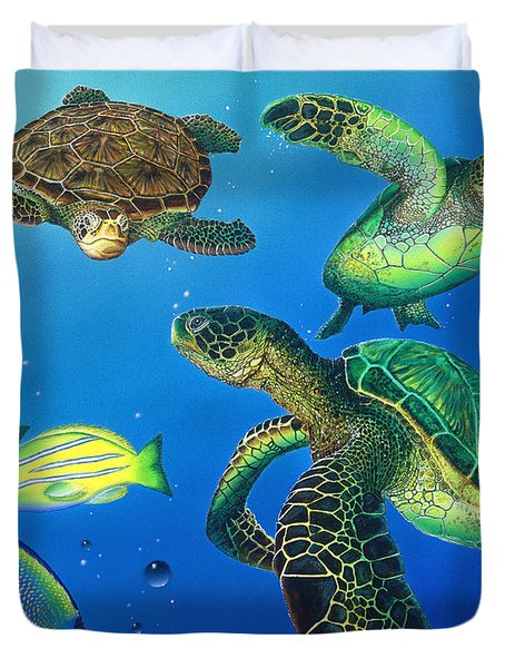 Turtle Towne Duvet Cover by Angie Hamlin