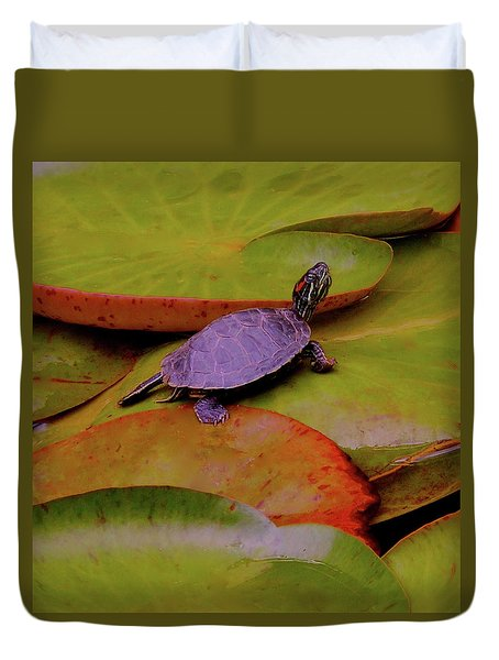 Turtle Travels Duvet Cover